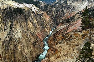 View East from Inspiration Point at Yellowstone River - Lower Falls far away in upper middle