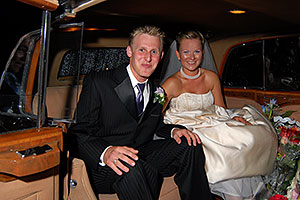 Ula and Peter inside of their Rolls Royce
