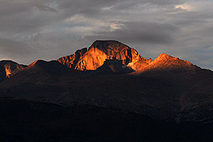 Longs Peak (14,255 ft) in the morning, a view from Moraine Park