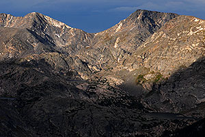 View of Mt Julian (12,928 ft, left) and Mt Ida (12,880 ft, right) with Gorge Lakes in between
