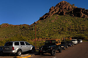 View of parking lot at Squaw Peak Mountain in Phoenix