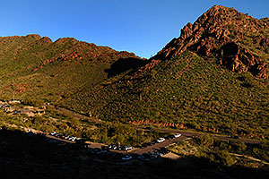 View down at parking lot from Squaw Peak Mountain in Phoenix