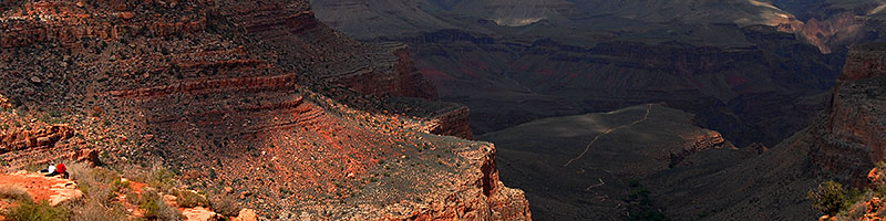 Bright Angel Plateau Trail (right from center) heading to a 1,200 ft overlook of Colorado River in Grand Canyon