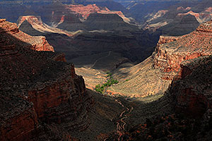 View down from 1.5 mile point along Bright Angel Trail in Grand Canyon