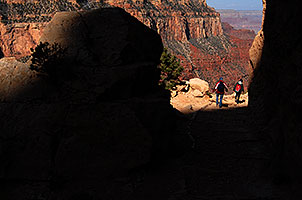 Hikers above (and heading towards) Ooh-Aah point along South Kaibab Trail in Grand Canyon