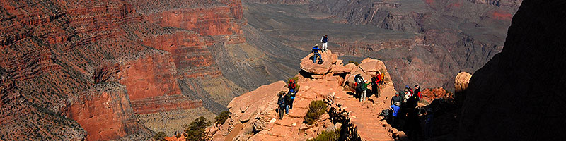 People at Ooh-Aah Point along South Kaibab Trail in Grand Canyon