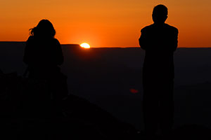 People at sunset in Desert View in Grand Canyon
