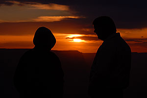 People at sunset at Desert View in Grand Canyon