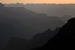 Sunset silhouettes in Grand Canyon