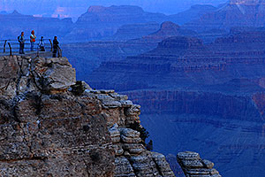 Photographers and civilians during sunrise at Mather Point in Grand Canyon