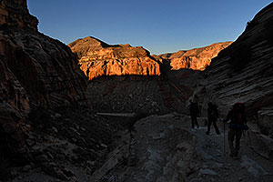 Hikers along the first mile of switchbacks of Havasupai Trail at 8 am