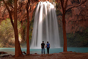 Matt and Jen by Cottonwood trees at Havasu Falls - 120 ft drop (37 meters)
