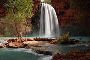 People watching Havasu Falls - 120 ft drop (37 meters)
