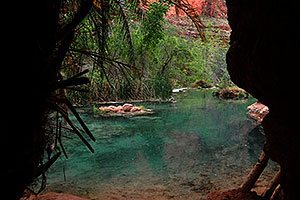 Entrance to a special place - Havasu Creek with ladder barely showing (near Beaver Falls)