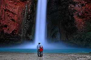 Father and son at Mooney Falls - 210 ft drop (64 meters)