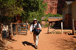 Me leaving Supai and heading for Hualapai Hilltop - with 2 backpacks and a tripod