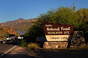 Canyon Lake sign in Superstitions
