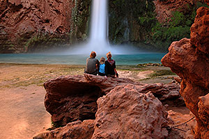 Family at Mooney Falls - 210 ft drop (64 meters)