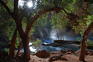 Morning sun rays at Havasu Falls - 120 ft drop (37 meters)