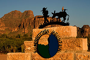 Lost Dutchman and Donkey sign - Superstition Mountain