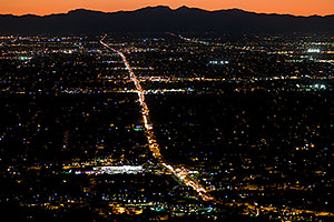 View from Squaw Peak west at Phoenix -- 7pm traffic along Northern Ave