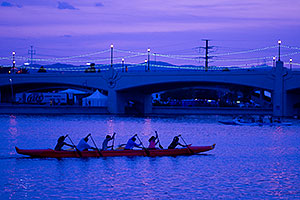 6 Canoers rowing at Tempe Town Lake
