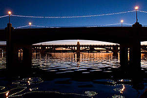 Mill Road bridge after sunset at Tempe Town Lake