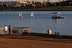 People and Kids Sailboats by North Bank Boat Landing at Tempe Town Lake