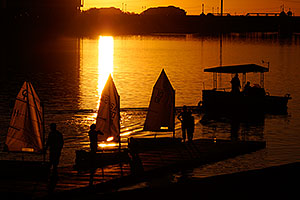 Kids Sailboats at North Bank Boat Ramp at sunset at Tempe Town Lake
