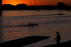 Kayakers at sunset at North Bank Boat Ramp at Tempe Town Lake