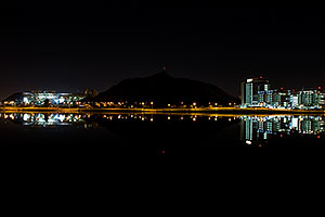 Night reflections of ASU, A Mountain and Buildings at Tempe Town Lake