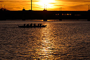 Canoeists at sunset at Tempe Town Lake