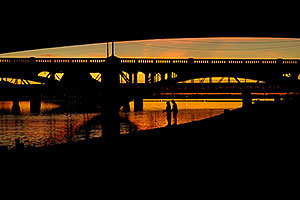 Fishing by Mill Road bridge at Tempe Town Lake