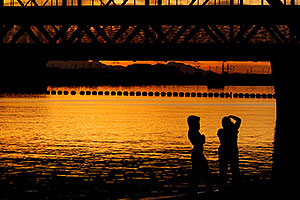 Silhouettes at North Bank Boat Beach at Tempe Town Lake