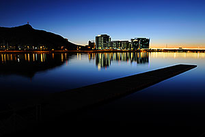 Night reflection at North Bank Boat Ramp at Tempe Town Lake