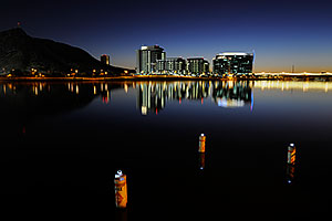 Night reflection by North Bank Boat Ramp at Tempe Town Lake