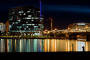Photographer at night at Tempe Town Lake