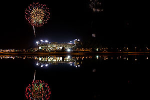 ASU football fireworks over Tempe Town Lake