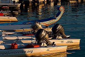 Boats and tail of Chinese Dragon Boat at Tempe Town Marina