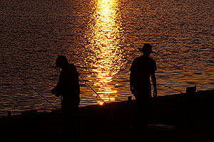 Fishing at sunset at Tempe Town Lake