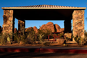 Picnic tables in a Ramada at Papago Park - Eliot Ramada Trail