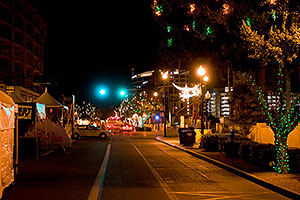 Christmas lights along Mill Road in Tempe - view North