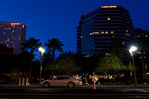 By Arizona Center and Sheraton at night in Phoenix