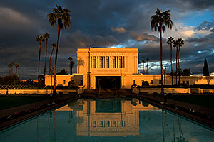 Reflection from west side of Mesa Arizona Temple