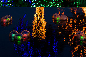 Reflections of floating lights by Mesa Arizona Temple