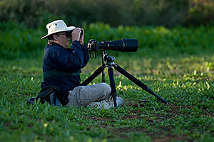 Bird Photography requirements - big lens, low tripod, binoculars, hat, water bottle…(br)Photographer at Riparian Preserve