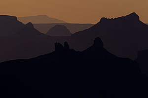 Mountain silhouettes at sunset in Grand Canyon