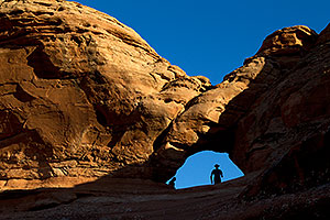 A window by Delicate Arch in Arches National Park