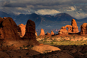 Turret Arch in evening light in Arches National Park