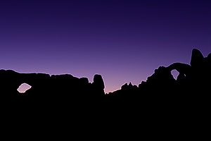 Night Silhouettes of South Window (left) and Turret Arch (right) in Arches National Park